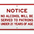 Alcohol Notice 21 Years — Stock Vector
