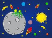 Planeta en el espacio — Vector de stock