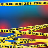 Police Line w Red Blue Lights — Stock Photo