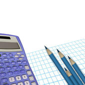 Office stillife.Calculator, paper and pencils — Stock Photo