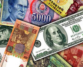 Pieniądze z różnych krajów — Zdjęcie stockowe
