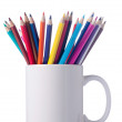 Various colour pencils in cup. Isolated on the white background. — Zdjęcie stockowe