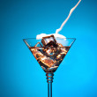 Colourful coctail on the blue background — Stock Photo #13193956