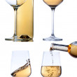 Set of glass with white wine on white background. — Stock Photo