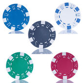 Five poker chips isolated on white background — Stock Photo