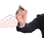 Business man drawing graphs — Stock Photo