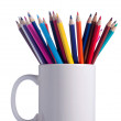 Various colour pencils in cup. — Stok fotoğraf
