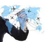 O ar de desenho no quadro branco mapa — Foto Stock