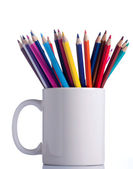 Various colour pencils in cup. — Stock Photo