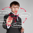 Businessman drawing social network — Stockfoto