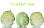 Set of green cabbage isolated on white background — Stock Photo