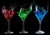 Alcoholic cocktails set - red, green, blue. — Stock Photo