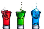 Alcoholic cocktails set , red, green, blue. — Stock Photo