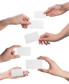 Händerna hålla visitkort collage på vit bakgrund — Stockfoto