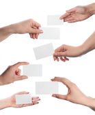 Hands hold business cards collage on white background — Stock Photo