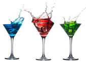 Alcoholic cocktail set splash - Red cosmopolitan, Blue Curacao, Fresh Green cocktail — Stock Photo