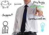 Business man writing success concept by goal, vision, creativity, teamwork, focus, inspiration, training, etc. — Stock Photo