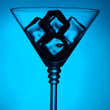 New year 2014 cocktail on blue background — Stock Photo