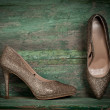 Stock Photo: Women shoes on wooden background