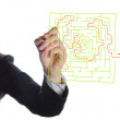 Hand drawing labyrinth and red arrow — Stock Photo #41817507