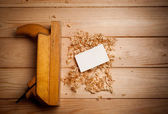 Old wooden plane in a workshop of the carpenter — Stock Photo
