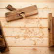 Joiner tools on wood table background with Woodchips — Stock Photo #48088269