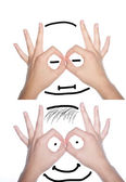 Human face made of hands — Stock Photo