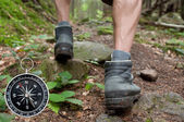 Hiking with compass in the mountain — Stock Photo