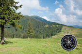 Compass in the mountain — Stock Photo