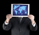 Businessman holding a map. — Stock Photo
