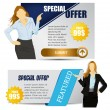 Business women with web banner — Stock Vector