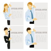 Business women and men showing blank banner — Stock Vector