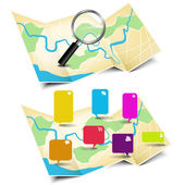 Map with magnifying glass and stickers — Stock Vector