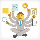 Illustration of busy businessman — Stock Vector