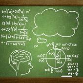 Close up van wiskundige formules op een schoolbord — Stockfoto