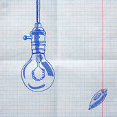 Dibujos escolares sobre el papel a cuadros — Foto de Stock