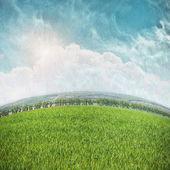 Campo verde e céu azul — Fotografia Stock