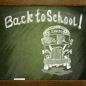 Lavagna di scuola con schizzo scuolabus — Foto Stock