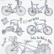Vintage bicycle set in the notebook — Vector de stock #12858696