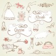 Wedding set of cute glamorous doodles and frames — Vector de stock