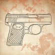 Vector illustration of a gun on the vintage background - Stock Vector