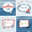 Set of 4 Nautical cards — Stock Vector #12859096