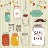 Glass Jars, frames and cute seamless backgrounds. — Vector de stock