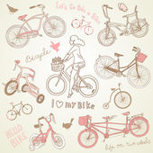 Vintage bicycle set and a beautiful girl riding a bike — Vector de stock
