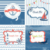 Set of 4 Nautical cards — Stockvektor