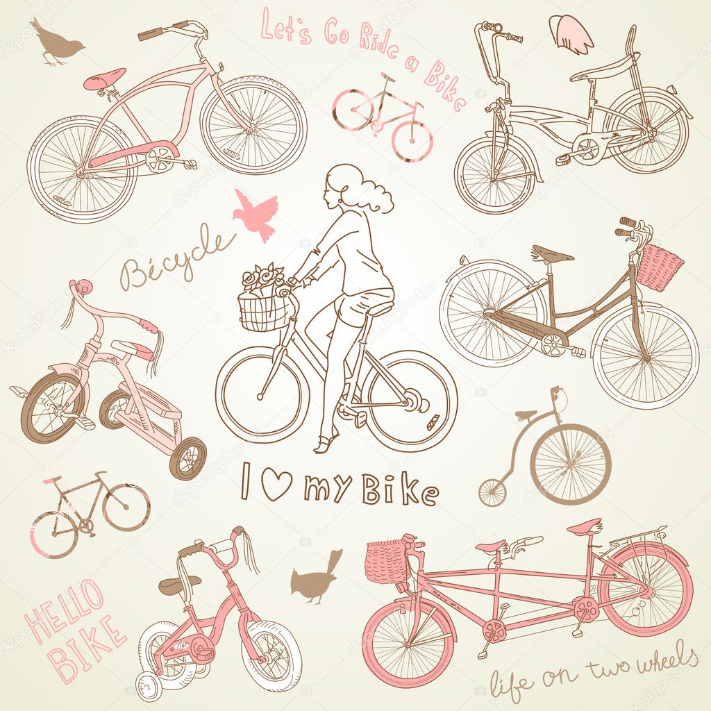 Vintage bicycle set and a beautiful girl  riding a bike — Stock Vector #12858330
