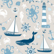 Retro Seamless Nautical pattern — Stock Vector