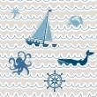 Seamless wave pattern with nautical symbols — Stock Vector