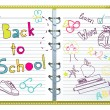 Back to school, notebook with doodles — Imagen vectorial