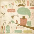 Vintage scrapbook elements, sticky notes - Imagen vectorial